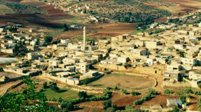 View from above of Palestinian village of Gilboa, Mount Gilboa, Palestinian Authority, Palestine, Middle East