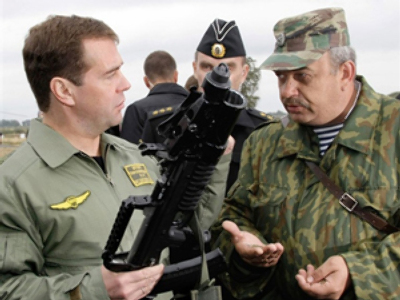 Medvedev checks out unique underwater rifle