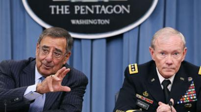 Secretary of Defense Leon Panetta (L), and Chairman of the Joint Chiefs of Staff Gen. Martin Dempsey speak to the media during a briefing at the Pentagon.(AFP Photo / Mark Wilson)