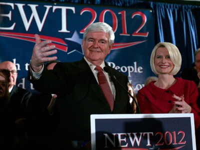Republican presidential candidate, former Speaker of the House Newt Gingrich (L) speaks during a primary night rally with his wife Callista Gingrich January 21, 2012 in Columbia, South Carolina (T.J. Kirkpatrick / Getty Images / AFP)