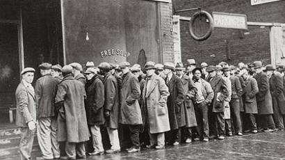 Unemployed men queued outside a depression soup kitchen opened in Chicago by Al Capone, 1931 (Image from archives.gov)