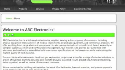Screenshot from arcelectronics.com