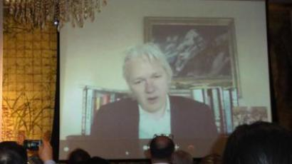 Julian Assange addresses News 2011 Summit via Skype (28 November, Hong Kong)