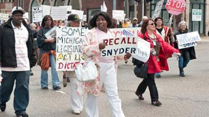 Benton Harbor protest against stripping powers of the local government (Photo from http://www.prwatch.org)
