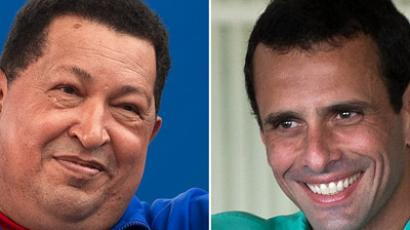 This combination of file pictures shows Venezuelan President Hugo Chavez (L) during a campaign rally in Yaritagua, Yaracui state, on October 2, 2012, and Venezuelan opposition candidate Henrique Capriles Radonski at a polling station in Caracas on February 12, 2012. (AFP Photo/Leo Ramirez - Juan Barreto)