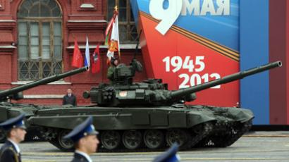 T-90 tanks riding through Red Square during the Victory Day parade (RIA Novosti / Iliya Pitalev)