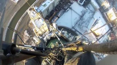 Russian daredevils climb Europe's tallest building (PHOTOS)