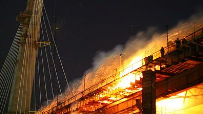Bridge constructed over Zolotoi Rog Bay caught fire, Vladivostok