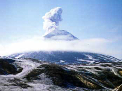 Volcano eruption in Far East