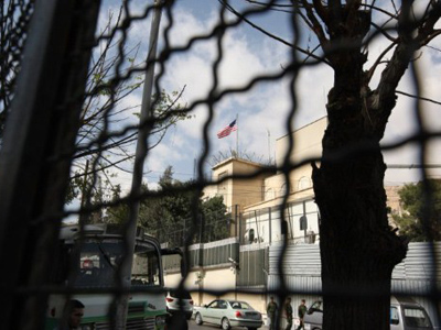 The US flag fluttering over the US embassy in Damascus (AFP Photo / Louai Beshara)