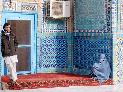 Afghani widow, Mazar-i-Sharif Hazrat Ali mosque