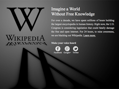 Wikipedia blackout: 24-hour strike against SOPA, PIPA is on