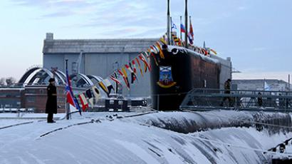 The Yury Dolgoruky nuclear-powered submarine seen during the ceremony of St.Andrew's flag-hoisting in the Sevmash shipyards, Severodvinsk, January 10, 2013. (RIA Novosti / A. Petrov)