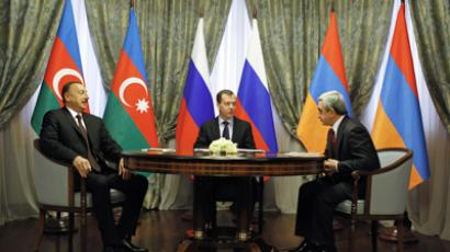 Russian President Dmitry Medvedev (center), President of the Republic of Azerbaijan Ilkham Aliyev (left), and President of the Republic of Armenia Serzh Sargsyan (right) during a trilateral meeting at Krasnaya Polyana (RIA Novosti / Dmitry Astakhov)