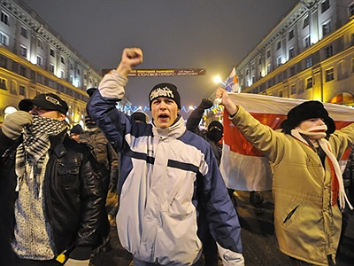 Belarus, Minsk: Protesters shout during a march in the center of Minsk on December 19, 2010. (AFP Photo / Sergei Supinsky)