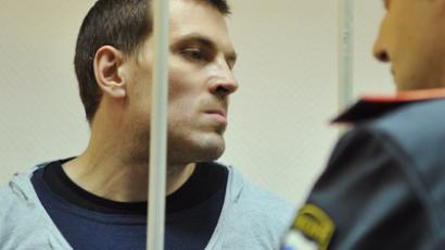 Maksim Luzyanin, a defendant in 6 May Bolotnaya Square riot case, at a court hearing in Zamoskvoretsky Court, Moscow (RIA Novosti / Sergey Kuznetsov)