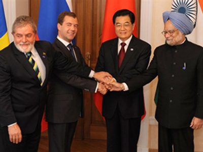 L to R: Presidents Luiz Inacio Lula da Silva of Brazil, Dmitry Medvedev of Russia, Hu Jintao of China, and Indian Prime Minister Manmohan Singh (AFP Photo / Dmitry Kostyukov)