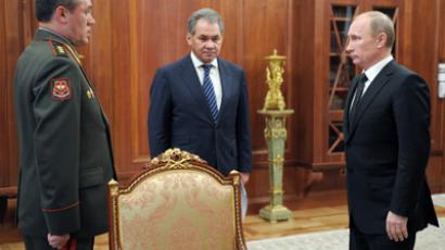 (From right) Russian President Vladimir Putin, Defense Minister Sergei Shoigu and Colonel-General Valery Gerasimov nominated for the post of Chief of the General Staff of the Russian Armed Forces meet in the Kremlin, November 9, 2012 (RIA Novosti / Alexsey Druginyn)