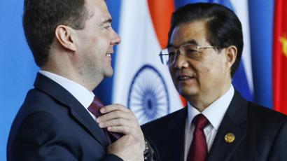 April 14, 2011. From left: Russian President Dmitry Medvedev and Chinese President Hu Jintao at a ceremony of signing documents on the results of the BRICS Leaders Meeting in Sanya City, south China's Hainan Province. (RIA Novosti / Dmitry Astakhov)