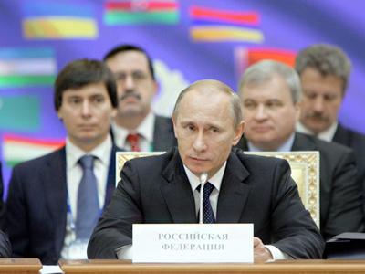 Prime Minister Vladimir Putin taking part in a  session of the Council of the CIS member states' heads of governments (RIA Novosti / STF)