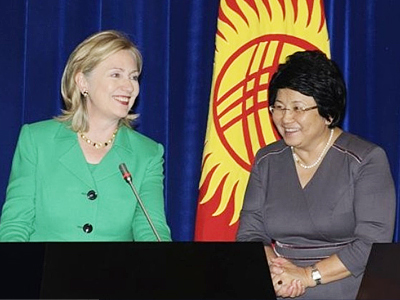 U.S. Secretary of State Hillary Rodham Clinton, left, and Kyrgyzstan's President Roza Otunbayeva seen at a news conference in Bishkek, Kyrgyzstan