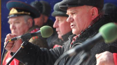 "Leader of the Russian Communist Party Gennady Zyuganov addresses the rally ""For Fair Election and Worthy Life"" on Manezhnaya Square in Moscow. (RIA Novosti / Artem Zhitenev)"
