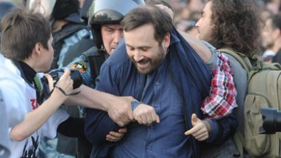 MP Ilya Ponomaryov is being detained by law enforcers during the March of Millions rally at Bolotnaya Square (RIA Novosti/Ilya Pitalev)