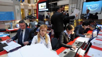 Observers monitor CEC operations during Russia's 2011 elections (RIA Novosti/Vladimir Astapkovich)