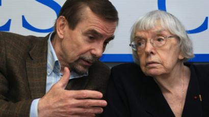 Lev Ponomaryov, executive director of the Public Movement for Human Rights, and Lyudmila Alexeyeva, chairperson of the Moscow Helsinki Group (RIA Novosti / Ruslan Krivobok)