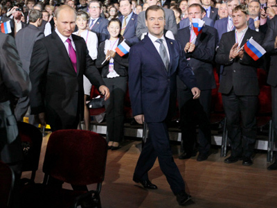 Guessing game over: Medvedev promotes Putin for presidency