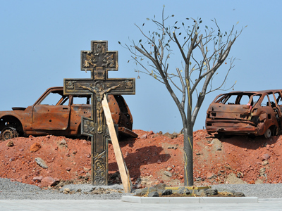 Memorial to the victims of the August 2008 conflict in Tskhinval, South Ossetia (RIA Novosti / Sergey Kuznetsov)