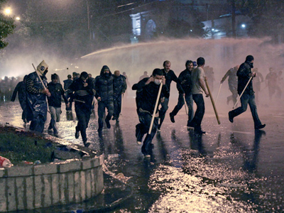 Police used tear gas, water cannons and rubber bullets to disperse the rally in Tbilisi (RIA Novosti / Andrey Stenin)