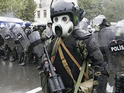 Georgian riot police in action