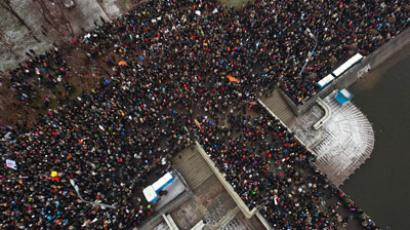 An areal view shows crowds gathering at Bolotnaya Sqare during an opposition protest action against the alleged mass fraud in the December 4 parliamentary polls in central Moscow, on December 10, 2011. (AFP Photo/Ridus/Dmitry Chistoprudov)