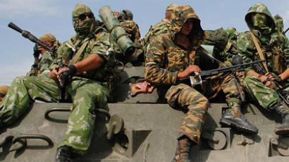 Russian soldiers on military base in Kyrgyzstan