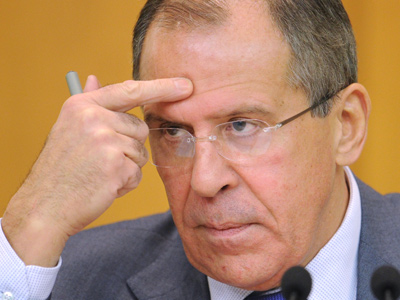 Russian Foreign Minister Sergei Lavrov speaks at a news conference at the Ministry of Foreign Affairs of Russia (RIA Novosti / Grigory Sysoev)