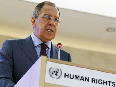 Russian Foreign Minister Sergey Lavrov speaks during the opening session of the 16th Human Rights Council at the European headquarters of the United Nations in Geneva