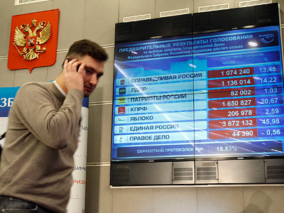 A journalist walks past a screen showing the first results from voting in Russia's parliamentray election at the Central Electoral Commission in Moscow, December 4, 2011. (REUTERS/Sergei Karpukhin)