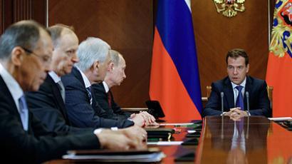 Dmitry Medvedev with members of Russia's security council (RIA Novosti / Dmitriy Astakhov)