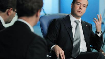 Russian President Dmitry Medvedev gives interview to the Financial Times (RIA Novosti / Dmitry Astakhov)