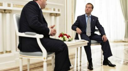 Russian President Dmitry Medvedev (R) meets with South Ossetia leader Eduard Kokoity in Sochi on August 13, 2010