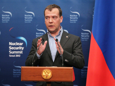 Russia's President Dmitry Medvedev speaks during a news conference at the 2012 Nuclear Security Summit in Seoul March 27, 2012 (Reuters / Ekaterina Shtukina / RIA Novosti / Kremlin)
