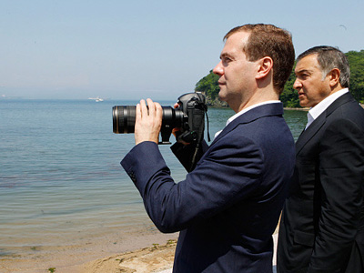 "President Dmitry Medvedev urged officials to think about the future of Russky Island, ""a place with a unique environment."" (RIA Novosti/Dmitry Astakhov)"