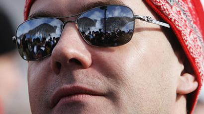 President Dmitry Medvedev at the  Roza Khutor Ski Resort (RIA Novosti / Aleksey Druzhinin)