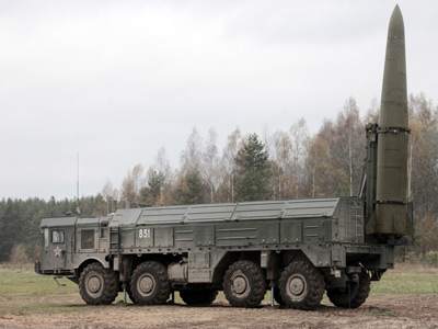 Iskander high-precision missile system in place during military exercises (RIA Novosti / Alexey Danichev)