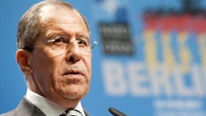Sergey Lavrov addresses press conference following the Russia-NATO Council meeting in Berlin (AFP Photo / John Macdougall)