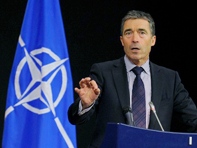 North Atlantic Treaty Organization (NATO) Secretary-General Anders Fogh Rasmussen gives his monthly press briefing at organization headquarters in Brussels on June 6, 2011 (AFP Photo / John Thys)