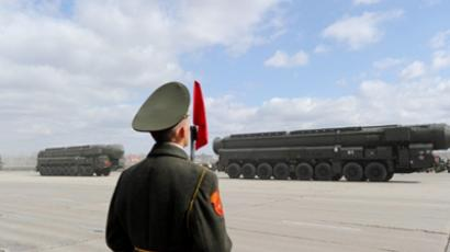 A column of Russia's Topol intercontinental ballistic missile launchers (AFP Photo / Natalia Kolesnikova)