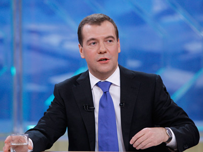 Russian President Dmitry Medvedev answers live to the questions of journalists from five Russian TV channels, 26 April 2012 (RIA Novosti / Vladimir Rodionov)