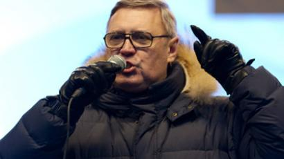 "Co-chairman of the People's Freedom Party Mikhail Kasyanov speaks at the authorized opposition rally ""For Fair Election"" on Sakharov Avenue, Moscow. (RIA Novosti/Alexander Vilf)"